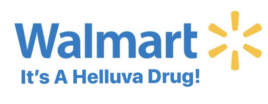 Walmart… It's A Helluva Drug sign, where thru-hikers go to find affordable resupply. Snickers, ramen noodles and rice sides, along with a great bomb shelter, is what Walmart has to offer.